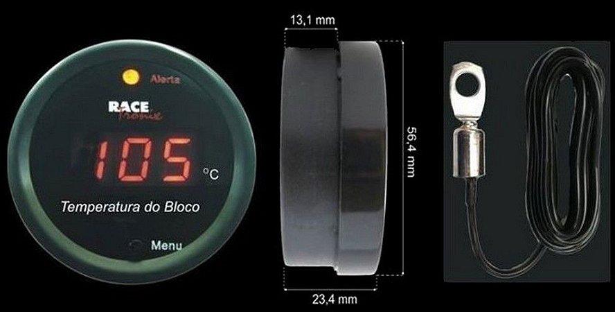 Termômetro 12V com sensor de bloco e copo com sirene