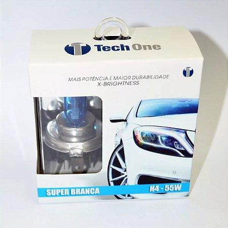 Lampada H4 Super Branca Tech One 55w 12v