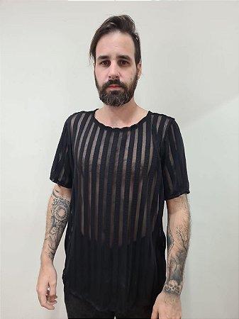 Camiseta listras preta