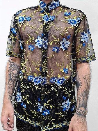 Camisa Renda Blue