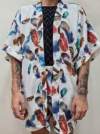 Kimono Penas Coloridas