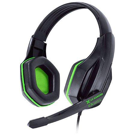 Headset Gamer PC VX Gaming Ogma P2 Preto e Verde Vinik