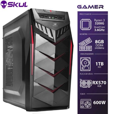 Computador Gamer 3000 R3 3200G 3.6Ghz Mem 8Gb Hd 1Tb Rx 570