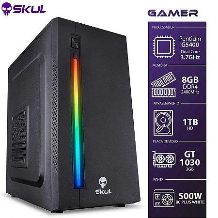 Computador Gamer 1000 - Pentium G5400 3.7GHZ 8ª Ger. Memória 8GB DDR4 HD 1TB GT 1030 2GB Fonte 500W