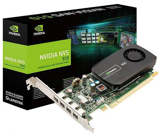 Placa de Vídeo Nvidia Quadro NVS 510 2GB DDR3 128 Bits 4 Mini Display Port VCNVS510 DVI-PB - Suporta até 4 Monitores/TV