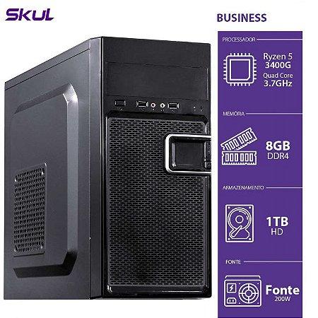 Computador Business B500 - R5-3400G 3.7GHZ 8GB DDR4 HD 1TB HDMI/VGA Fonte 200W