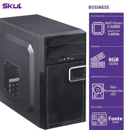 Computador Business B300 - R3-3200G 3.6GHZ 8GB DDR4 SEM HD HDMI/VGA Fonte 200W