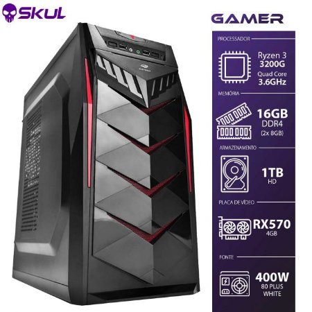 Computador Gamer 3000 R3 3200G 3.6GHZ Mem16GB DDR4RX 570 4GB