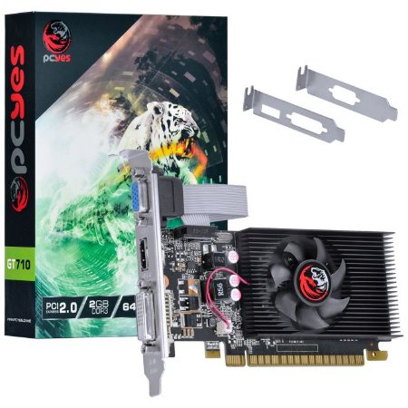 Placa de Vídeo Nvidia Geforce GT 710 2GB DDR3 64 Bits com Kit Low Profile Incluso