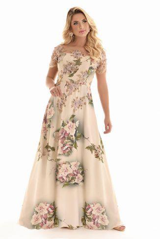 74e0bafd9 Vestido Longo estampado/ renda - Val Moda Evangélica