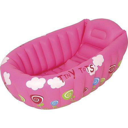 Banheira Para Bebe Mor Com Termômetro E Apoio Rosa