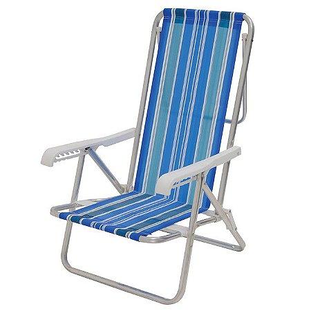 Cadeira De Praia Reclinável Mor 8 Posições Em Alumínio