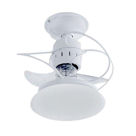 Ventilador de Teto 3 Pas Silencioso com Lustre Atenas Branco + Chave de Parede e Iluminação LED - Treviso