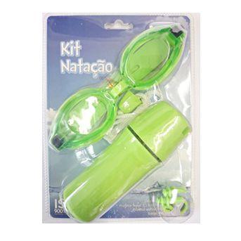 Kit Natação Infantil Mor Óculos  Protetor Nasal e Protetor Auricular Verde