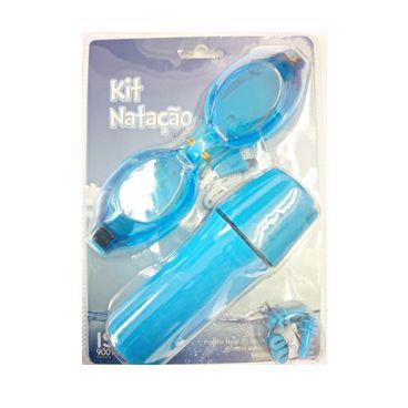 Kit Natação Infantil Mor Óculos  Protetor Nasal e Protetor Auricular Azul