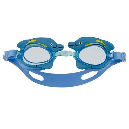 Óculos De Natação Infantil Mor Antiembaçante Golfinho Azul