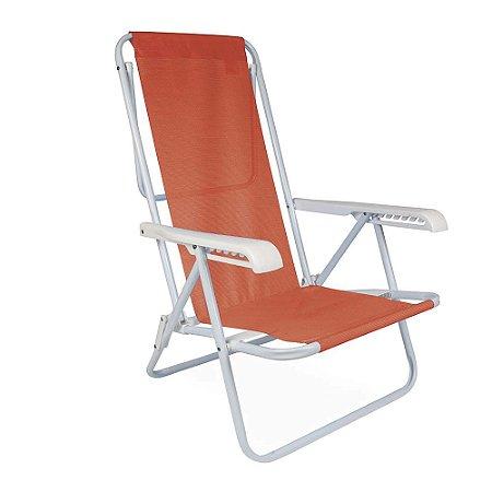 Cadeira de Praia Reclinável Mor em Aço 8 Posições Coral