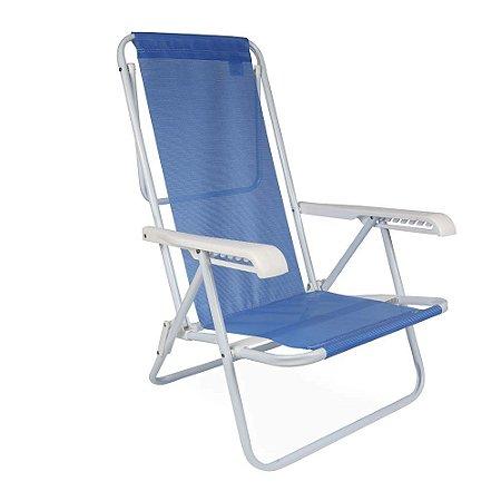 Cadeira de Praia Reclinável Mor em Aço 8 Posições Azul