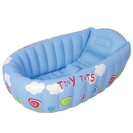 Banheira Para Bebe Mor Com Termômetro E Apoio Azul