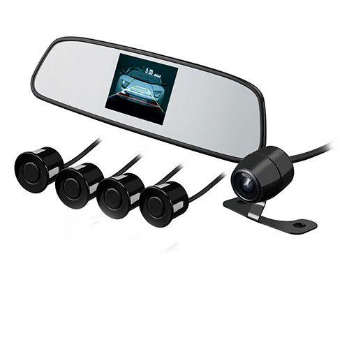 Retrovisor com Tela LCD 3,5`` + Camera de Re Alta Definicao Universal + Sensor de Estacionamento 4 Sensores Preto - KX3