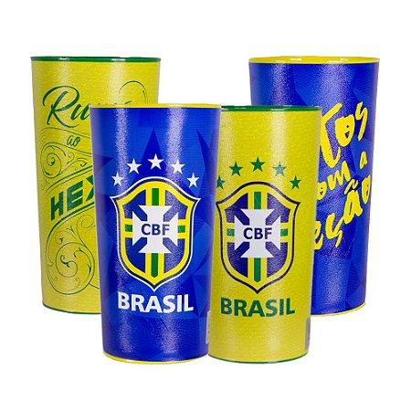 Kit com 4 Copos Oficiais Colecionáveis Brasil CBF Copa do Mundo 2018