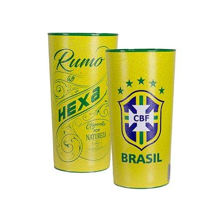 Kit com 2 Copos Oficiais Colecionáveis Brasil CBF Copa do Mundo 2018 Amarelo