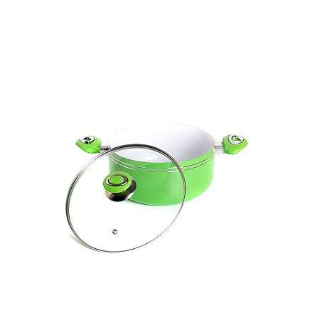 Panela Caçarola HomeStar de Alumínio Revestimento Nano- Cerâmica 20 cm Verde