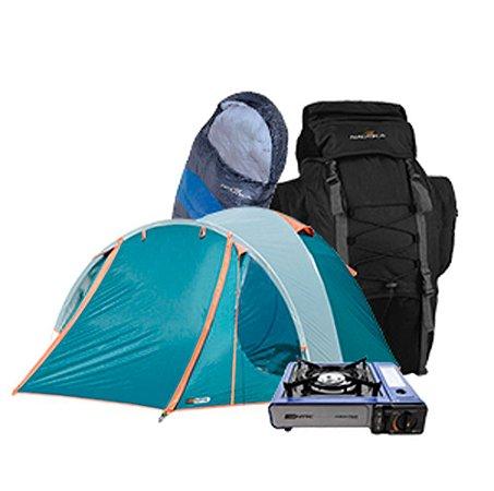 Kit Camping NTK Barraca Mochila Fogareiro Saco de Dormir
