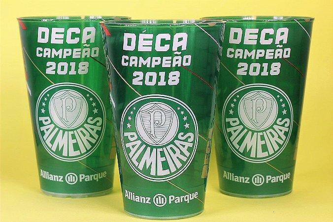 Kit com 3 Copos Oficiais Colecionáveis Palmeiras Deca Campeão 2018 com LED