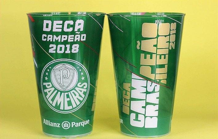Kit com 2 Copos Oficiais Colecionáveis Palmeiras Deca Campeão 2018 com LED