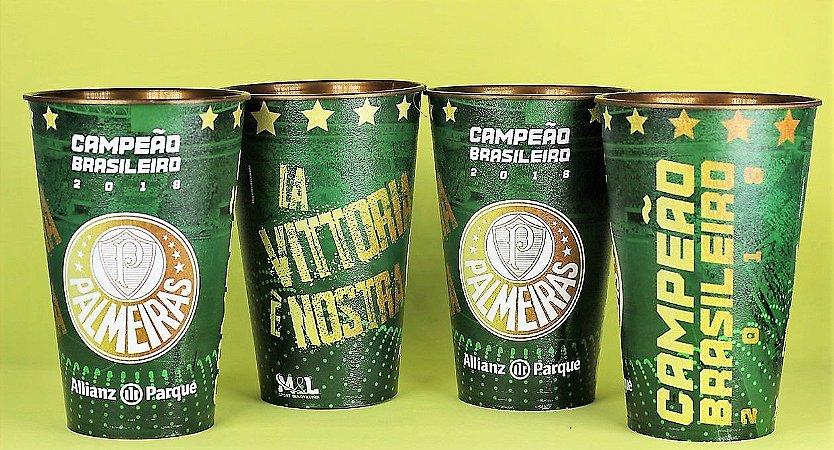 Kit com 4 Copos Oficiais Colecionáveis Palmeiras Campeão Brasileiro 2018 - 500ml