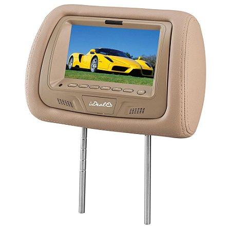 """Encosto de Cabeça com Tela LCD 7"""" Bege - I-Deal"""