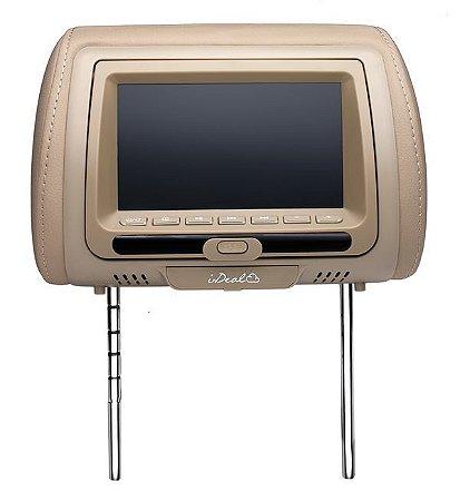 """Encosto de Cabeça com Tela LCD 7"""" Bege com DVD e Entrada USB / SD / Aux - I-Deal"""