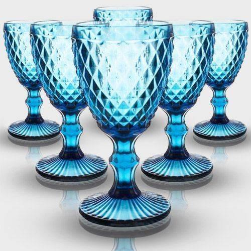 Jogo 6 Taças Bico de Abacaxi Azul 280ml
