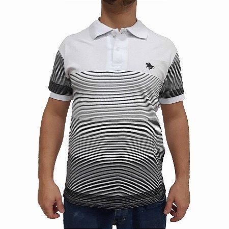 Camisa Polo RG518 Piquet Com Listras Bicolor