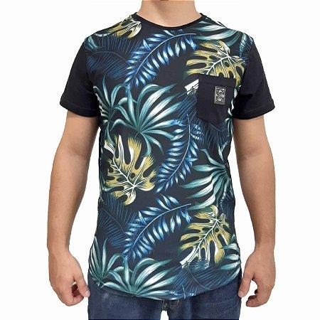 KIT com 3 Camisetas Polo RG518 Malha Estampa Floral C/ Bolso