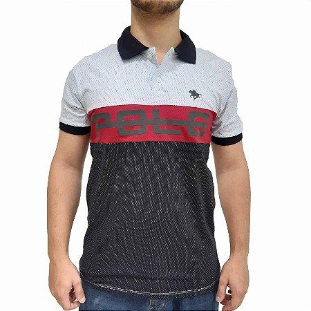 KIT com 3 Camisas Polo RG518 de Malha Estampada Bicolor