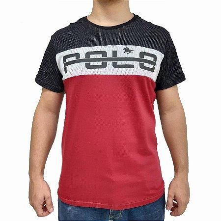 KIT com 3 Camisetas Polo RG 518 de Malha Recorte Estampa
