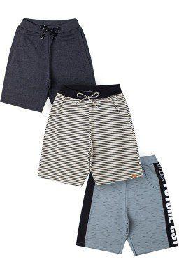 Bermuda Masculina Kit com 3 pçs