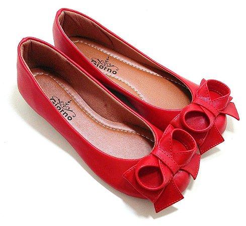 Sapatilha Bico redondo com Laço Vermelha
