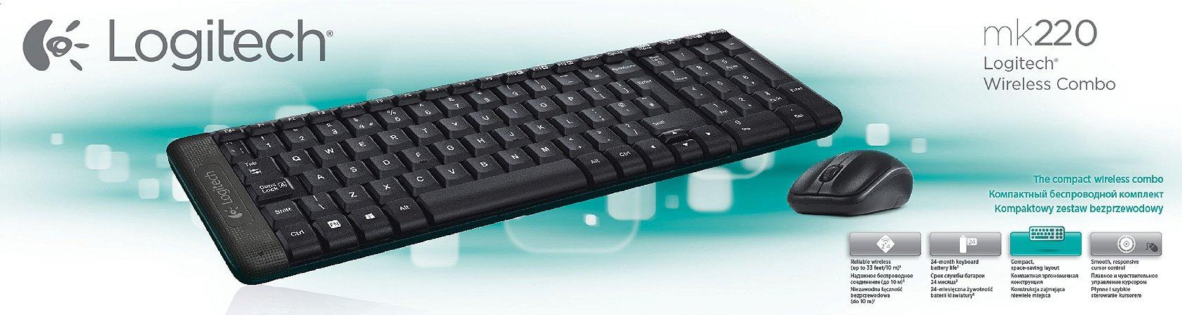 Kit Teclado e Mouse WIRELESS LOGITECH MK220 (920-004431)