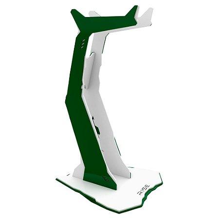 Suporte para Headset Rise Gaming Venon Branco e Verde Pequeno - RM-VN-01-WG