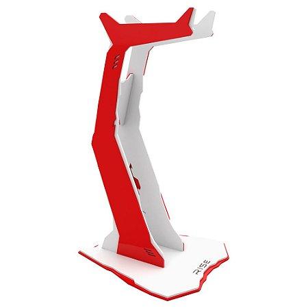 Suporte para Headset Rise Gaming Venon Branco e Vermelho Pequeno - RM-VN-01-WR