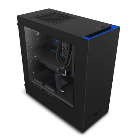 Gabinete NZXT Mid-Tower S340 Preto/Azul Lateral em Acrílico CA-S340MB-GB