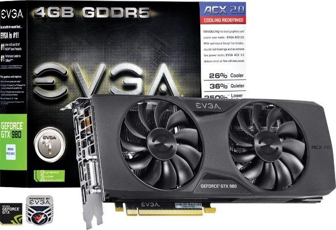 Placa de Video EVGA NVIDIA GEFORCE GTX 980 ACX 2.0 4GB GDDR5 256 BITS
