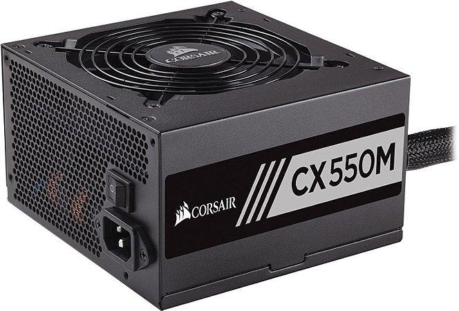 Fonte Corsair ATX 550W CX550M SEMI-MODULAR 80PLUS BRONZE