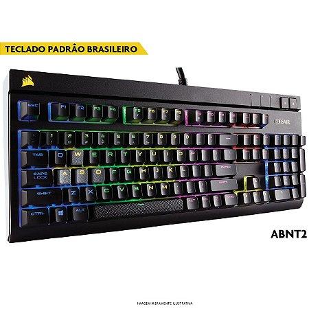 Teclado Mecânico Corsair STRAFE RGB CHERRY MX VERMELHO ABNT2