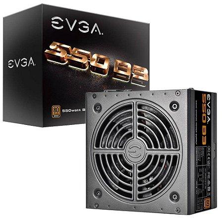 Fonte EVGA ATX 550W 80 PLUS BRONZE MODULAR, MODO ECO 220-B3-0550-V0