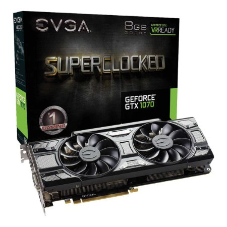 Placa de Video Evga Nvidia Geforce GTX 1070 SC GAMING 8GB GDDR5 256 BITS ACX 3.0 BLACK EDITION
