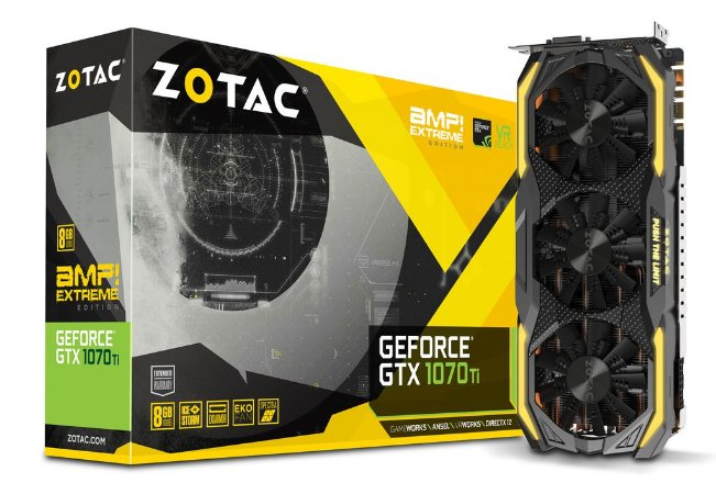 Placa de Video ZOTAC GEFORCE GTX 1070 TI AMP! EXTREME 8GB DDR5 256 BITS - ZT-P10710B-10P